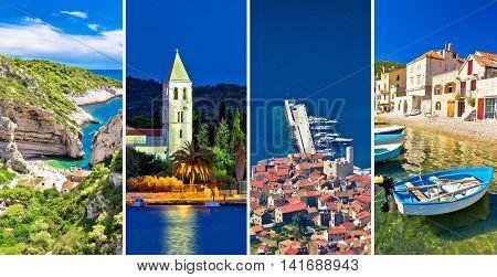 Island of Vis landmarks and nature collage Dalmatia Croatia