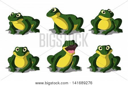 Set of green frogs separate images. Digital painting full color cartoon style illustration isolated on white background.