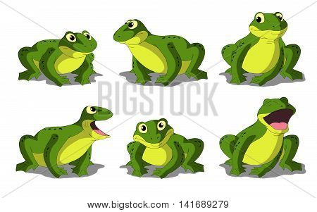 Set of light green frogs separate images. Digital painting full color cartoon style illustration isolated on white background.