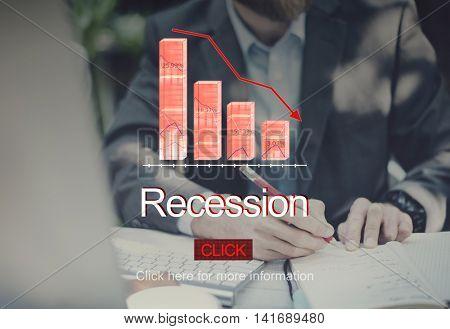 Problems Risk Deflation Depression Bankruptcy Concept