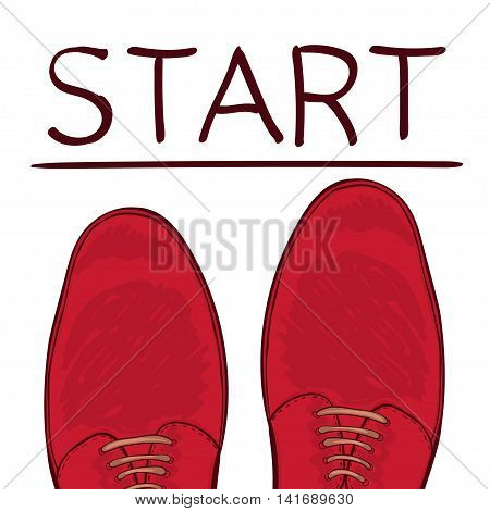 Business concept starting trait. Feet in male shoes on the road. Make a choice. Vector illustration