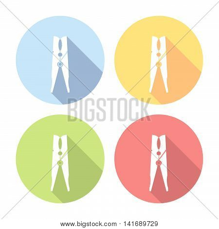 Clothespin Laundry Tool Flat Icons Set