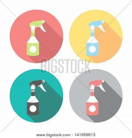 Home Cleaning Sprayer Flat Icons Set
