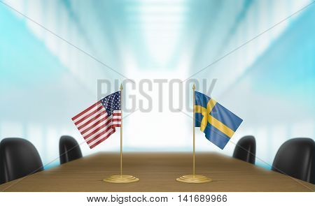 United States and Sweden relations and trade deal talks, 3D rendering