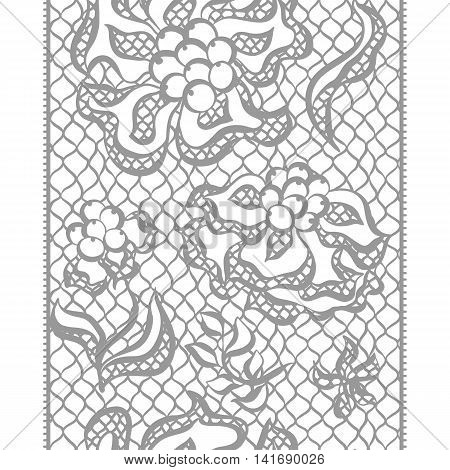 Seamless lace border with flowers. Vintage fashion textile.