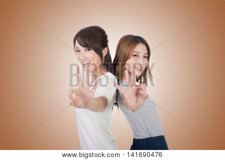 Asian woman give you an Okay sign.