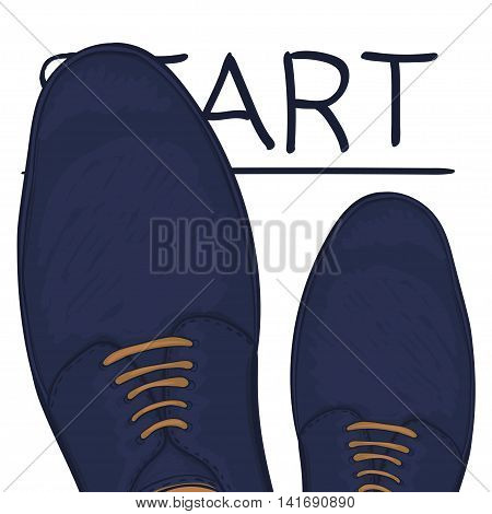 Business concept starting trait. Feet in shoes on the road. Make a choice. Vector illustration
