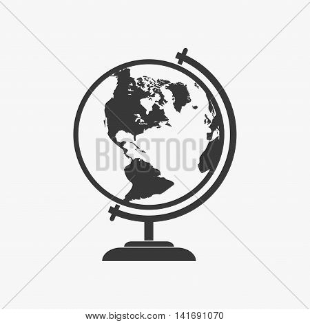 World globe icon school education in flat style. Globe geography earth icon symbol vector map isolated on gray background