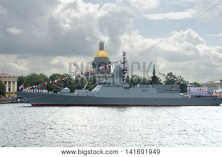 warships on the Neva during the celebration of the Military Navy