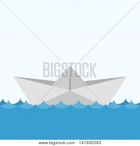 Paper boats ship origami toy and paper ship vessel transport wave. Ocean navy freedom yacht paper ship in flat style on blue background.