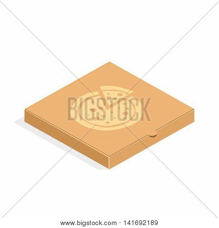 Brown carton packaging pizza box in flat style. Cardboard box for pizza isolated on white background.