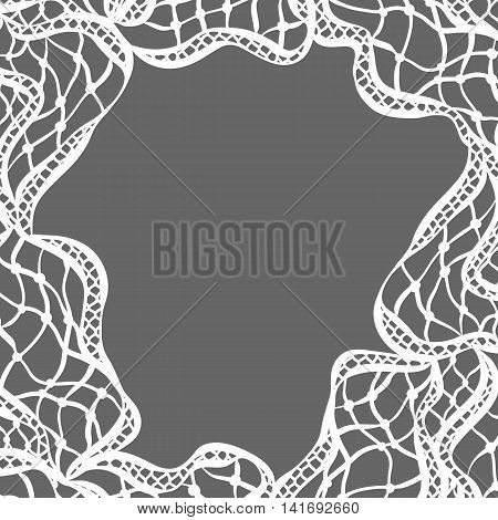 Lace ornamental background with abstract waves. Vintage fashion textile.
