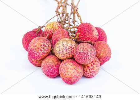 Sweet ripe lychee fruits on white background