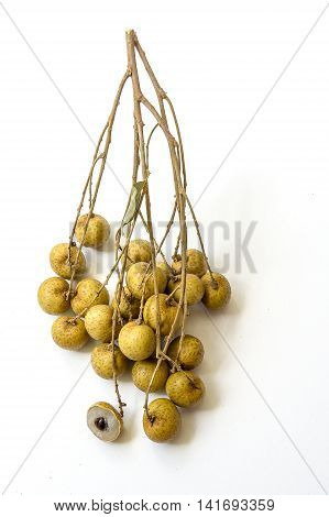 Fresh longan fruit on a white background isolated.