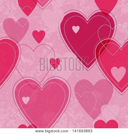 Seamless vector pink valentine spotty pattern with translucent hearts