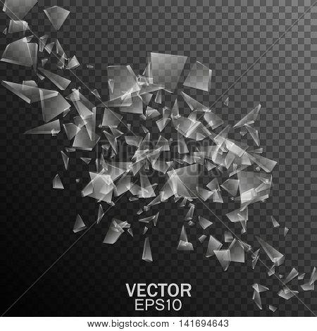 Broken glass effect, Vector transparent fragments, Abstract illustration