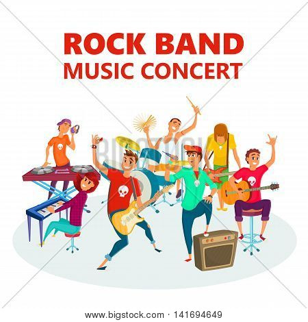 Cartoon Teenage Rock band. Concept music concert background vector illustration