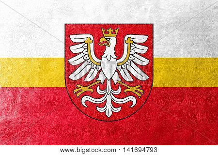 Flag Of Lesser Poland Voivodeship With Coat Of Arms, Poland, Painted On Leather Texture
