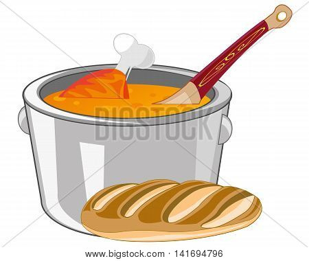 Soup with meat in saucepan on white background is insulated