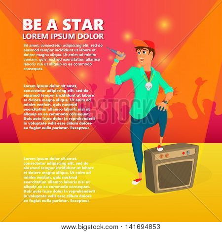 Cartoon young singer on stage. Teenage vocalist sings. Vector illustration of young person giving a concert.