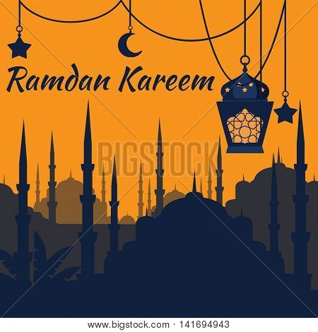 Ramadan Kareem - Islamic Holy Nights, Theme Design background, Ramadan latern, saint fest, arabian and turk religion culture set. Mosque with minaret, east cityscape, Night city