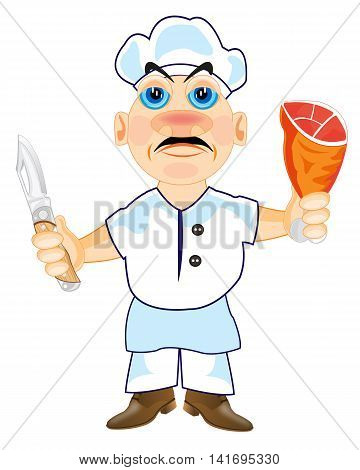 Cartoon of the cook on white background is insulated