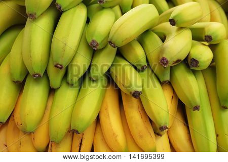 Background pile of bananas for sale in a market