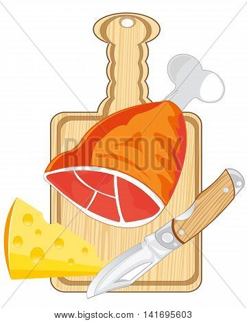 Meat with cheese on kitchen board.Vector illustration