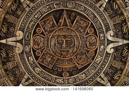 Close view of the ancient Aztec calendar