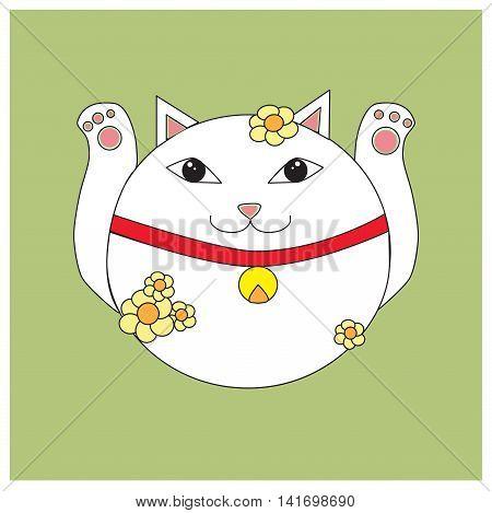 Cute card with japanese maneki-neko (lucky-cat). Vector illustration.