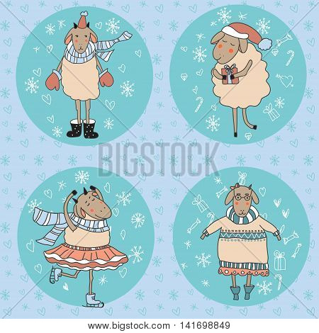 Winter card with happy sheeps. Vector illustration.
