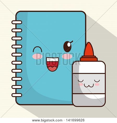 School design represented by kawaii notebook and glue icon. Colorfull and isolated illustration.