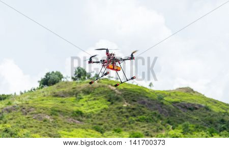 Flying drone to the sky