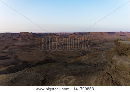 Sunrise in the desert in southern Israel