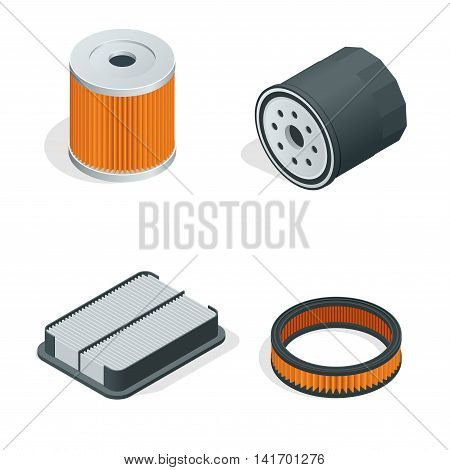 Car filters isometric set. Car parts. Filters for cars flat 3d vector illustration