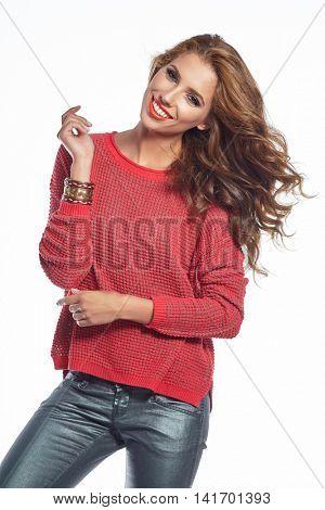 Beautiful brunette woman portrait in autumn color. Studio shoot