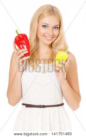 Half-length portrait of very beautiful woman holding fresh bell peppers. Smiling young housewife with red and yellow paprika. Studio shot isolated on white background. Healthy eating concept.