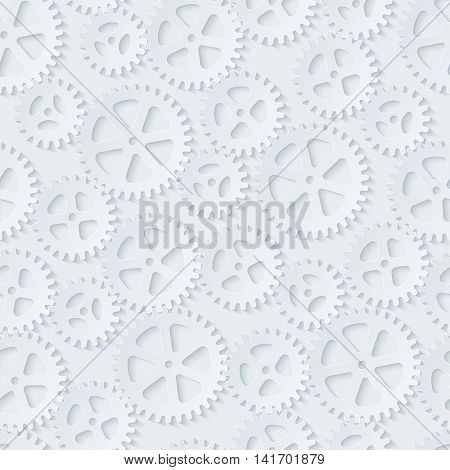 Seamless gears pattern. White paper with cut out effect. Cog wheels 3d seamless background. Vector EPS10.