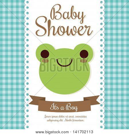 Baby Shower invitation design represented by kawaii frog cartoon. Pastel color illustration.