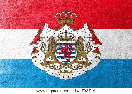 Flag Of Luxembourg With Coat Of Arms, Painted On Leather Texture