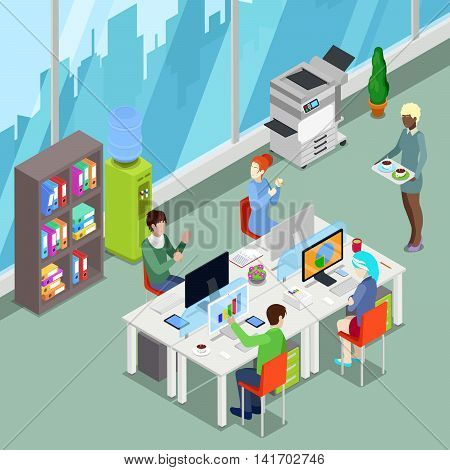 Isometric Office Open Space with Workers and Computers. Vector illustration