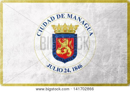 Flag Of Managua, Nicaragua, Painted On Leather Texture