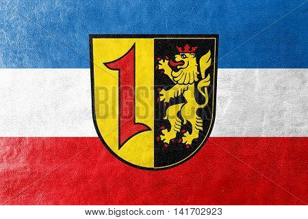 Flag Of Mannheim With Coat Of Arms, Germany, Painted On Leather Texture