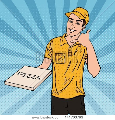 Pizza Delivery Man Holding a Pizza Box. Pop Art Vector illustration