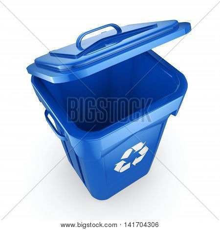 3D Rendering Blue Recycling Bin