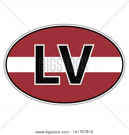 Sticker on car, flag Republic of Latvia with the inscription LV vector for print or website design for language buttons