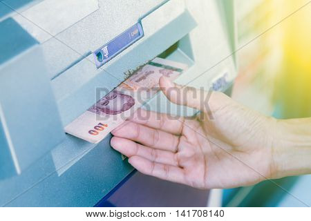 Atm Machine Withdrawing Money,close-up Of Person Withdrawing Money From Atm Machine,finance Concept,