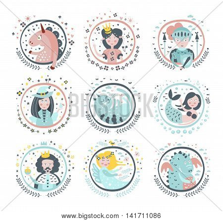 Fairy Tale Heroes Girly Stickers In Round Frames In Childish Simple Design Isolated On White Background