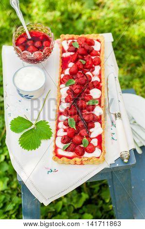 Orange Curd Tart With Vanilla Strawberries
