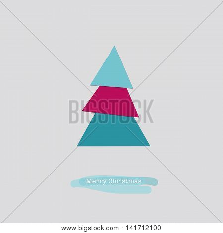 Merry Christmas Card With Blue Pink Tree